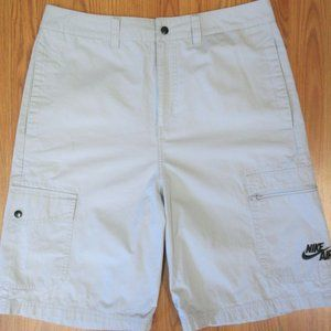 NIKE Mens 100% COTTON CARGO SHORTS GRAY Sz 32
